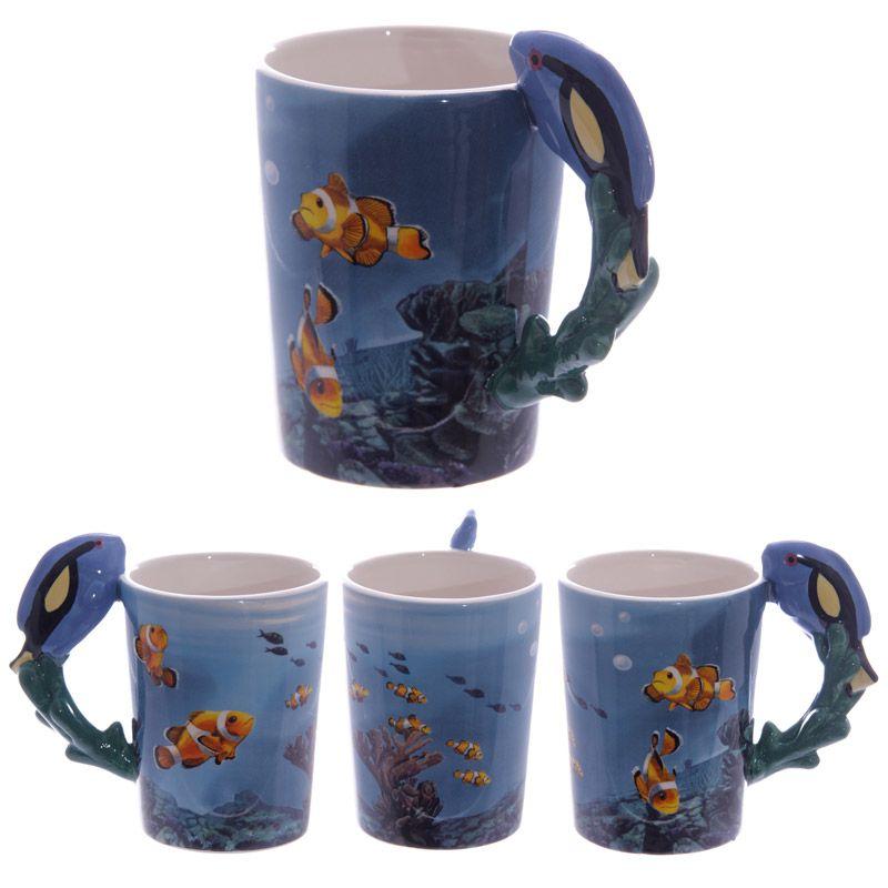 Ceramic sealife printed mug with blue tropical fish handle