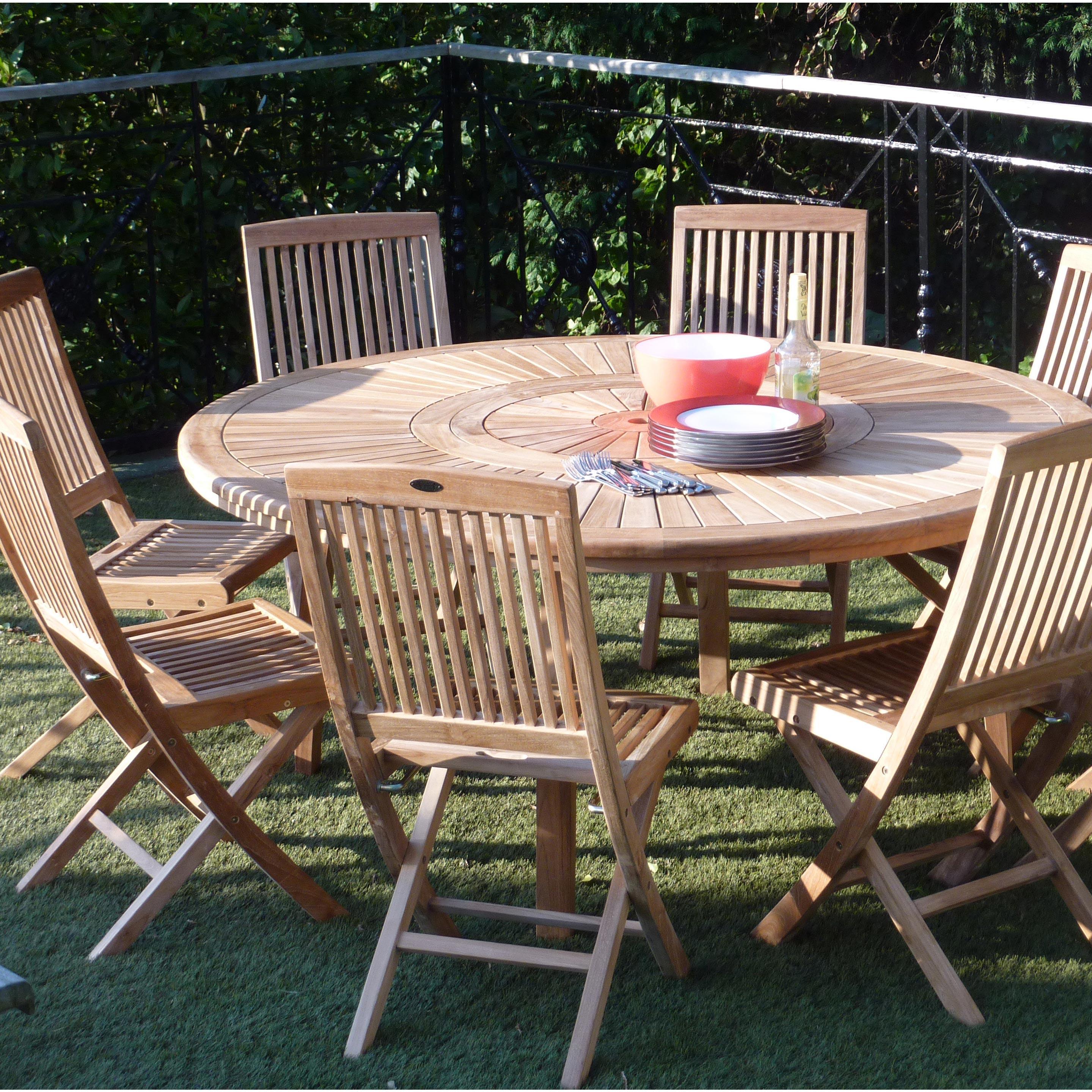Salon De Jardin Orion Bois Naturel 8 Personnes Table Et Chaises