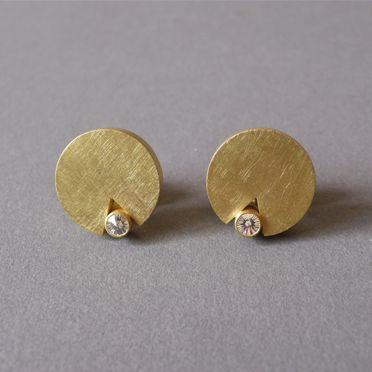 Pendientes – Oro amarillo 750, Diamantes en espíritu Corte de diamante Batho Gündra