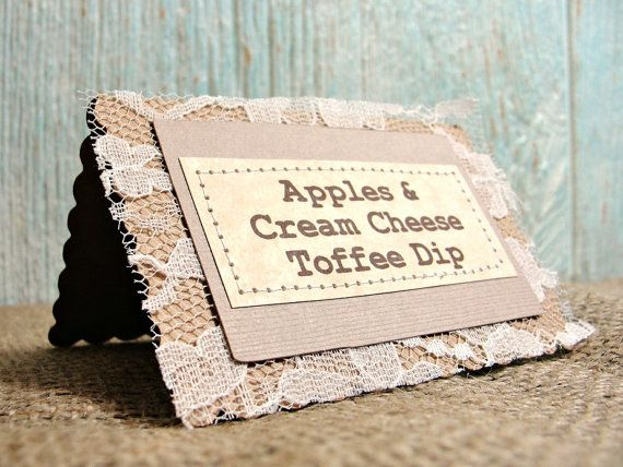 6 rustic wedding table label cards with lace by lazycaterpillar