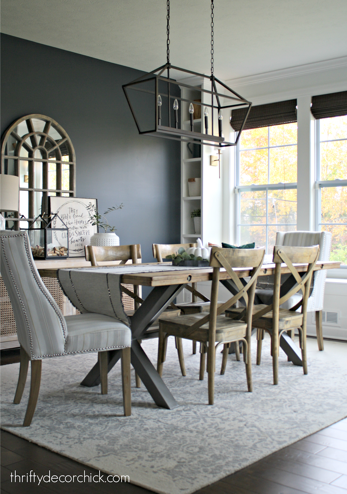 Dark Walls With White Built Ins In Dining Room Dark Dining Room Dining Room Makeover Dining Room Paint