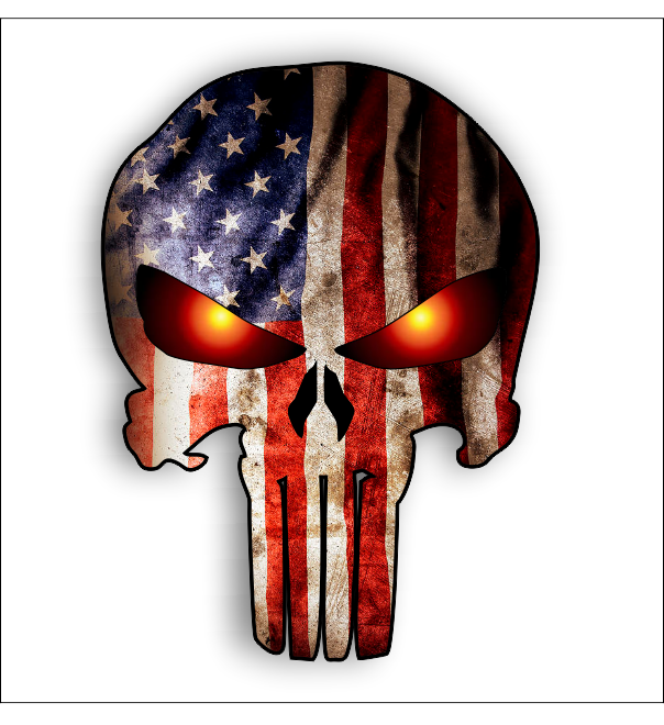 Punisher With American Flag And Glowing Eyes Sticker Sticker Decal Free Shipping Vin Punisher Skull American Flag Punisher Skull Tattoo Punisher Tattoo