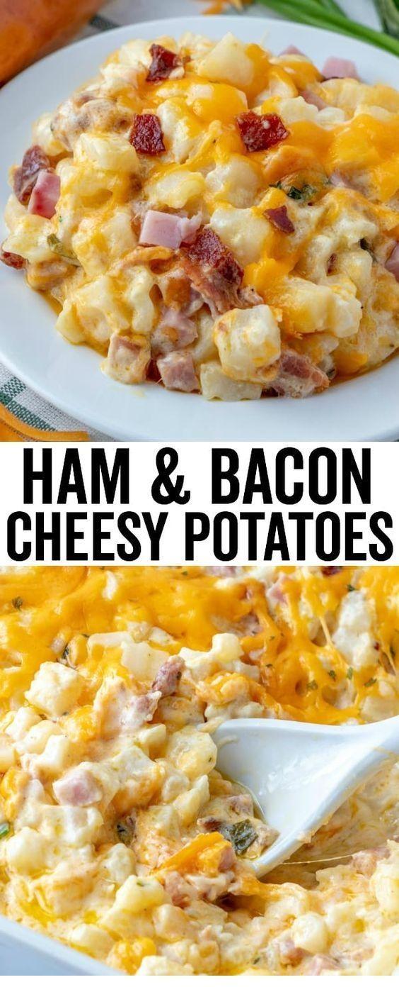 HAM & BACON CHEESY POTATOES - #bacon #cheesy #Ham #Potatoes