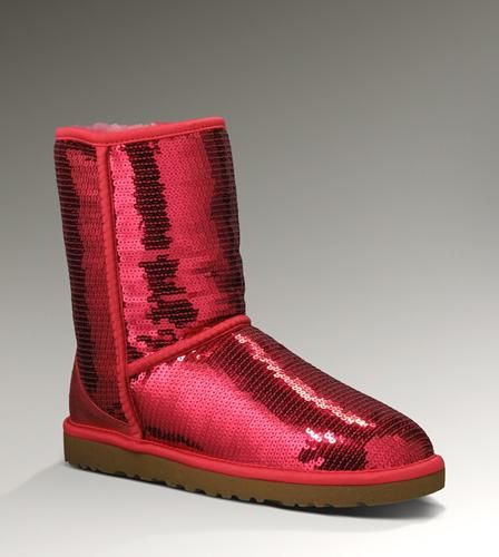 UGG 3161 Classic Short Sparkles Boots Red