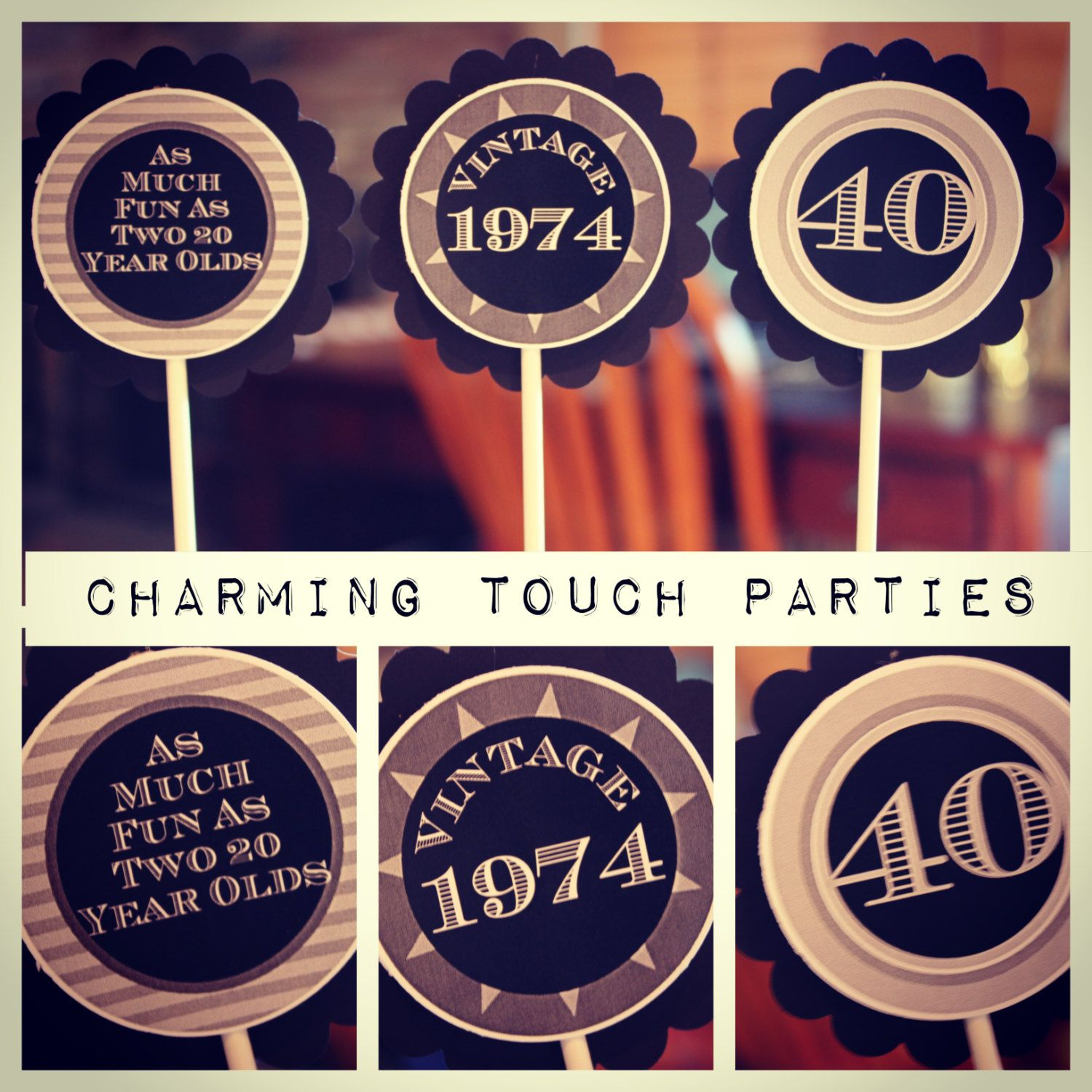 Custom Modern and Maculine 40th birthday by CharmingTouchParties
