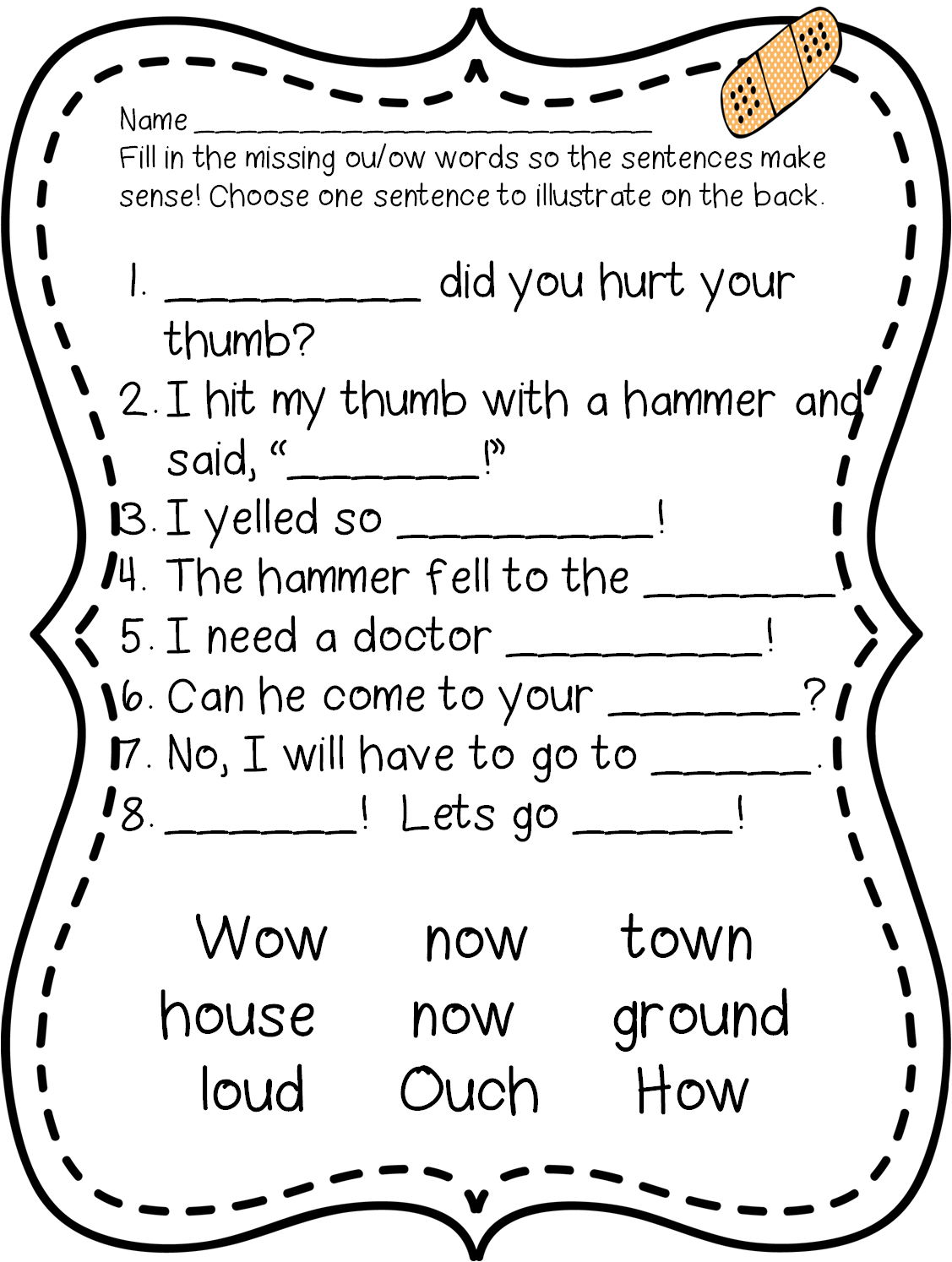 Phonics WorksheetsRules to remember to teach difference between – Ou Ow Worksheets