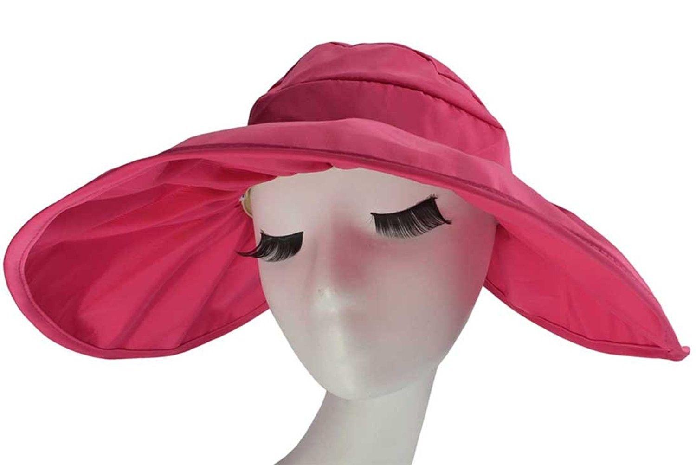 5dbf4fd38b7ca Adjustable Summer Beach Sun Visor Foldable Roll up Wide Brim Hat Cap for  Girls or Lady