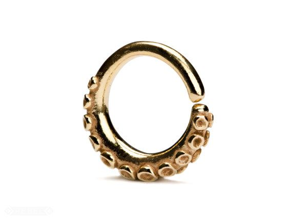 f11eb5058f266 Octopus Tentacle Septum Ring Gold Nose Ring Body Piercing Septum ...