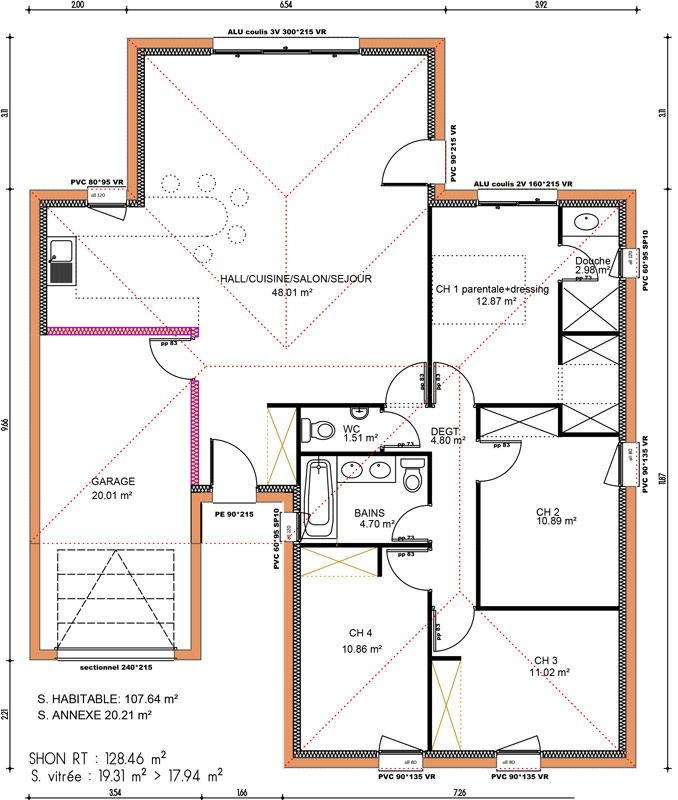 Maison ossature bois contemporaine - Plain pied - 125 m2 - plan maison une chambre