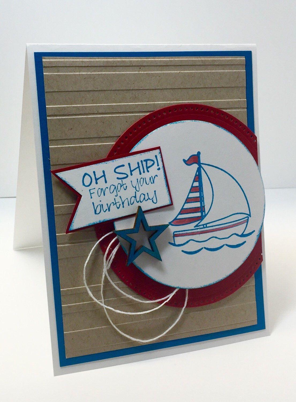 belated birthday card nautical birthday card burthday card