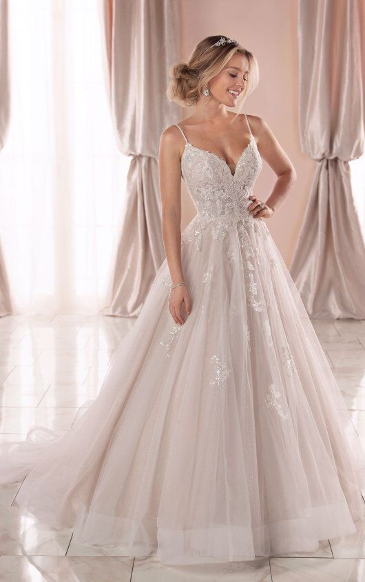 Spaghetti Strap V-neckline Ball Gown Wedding Dress With Beading And Embroidery | Kleinfeld Bridal