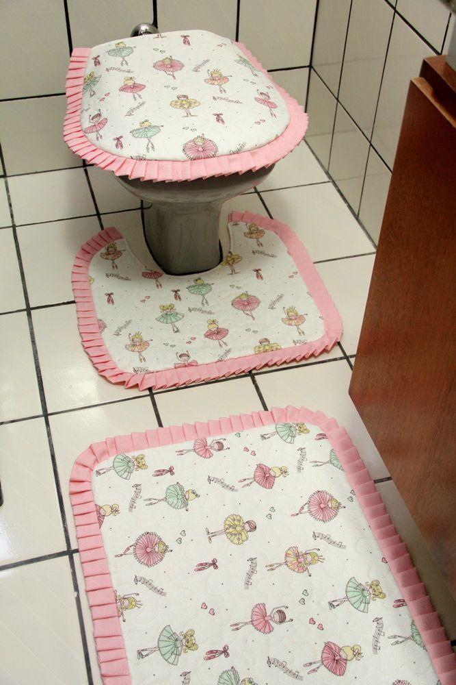 Jogo De Tapetes De Banheiro Bailarina Rosa Composto Por 3 Pecas
