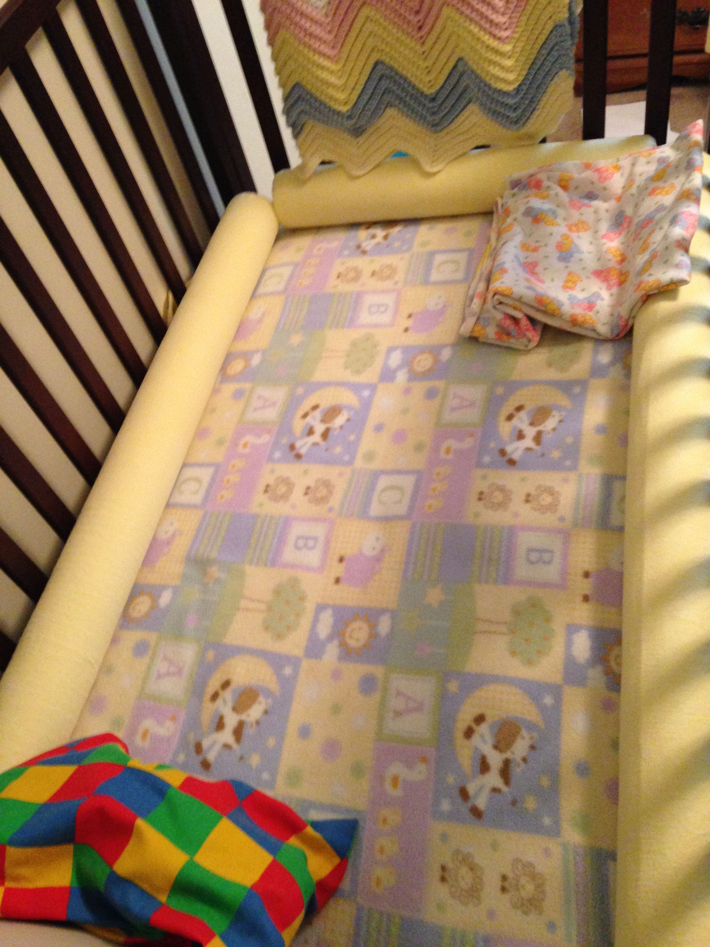 Top Pool noodles to crib bumpers: removable flannel covers with
