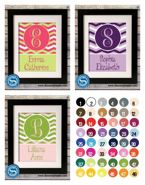 Children Monogram & Name Custom 8x10 Print - Pick Your Colors  $8.95  #personalized #wallart #dealaday #dailydeal #babyroom #gift