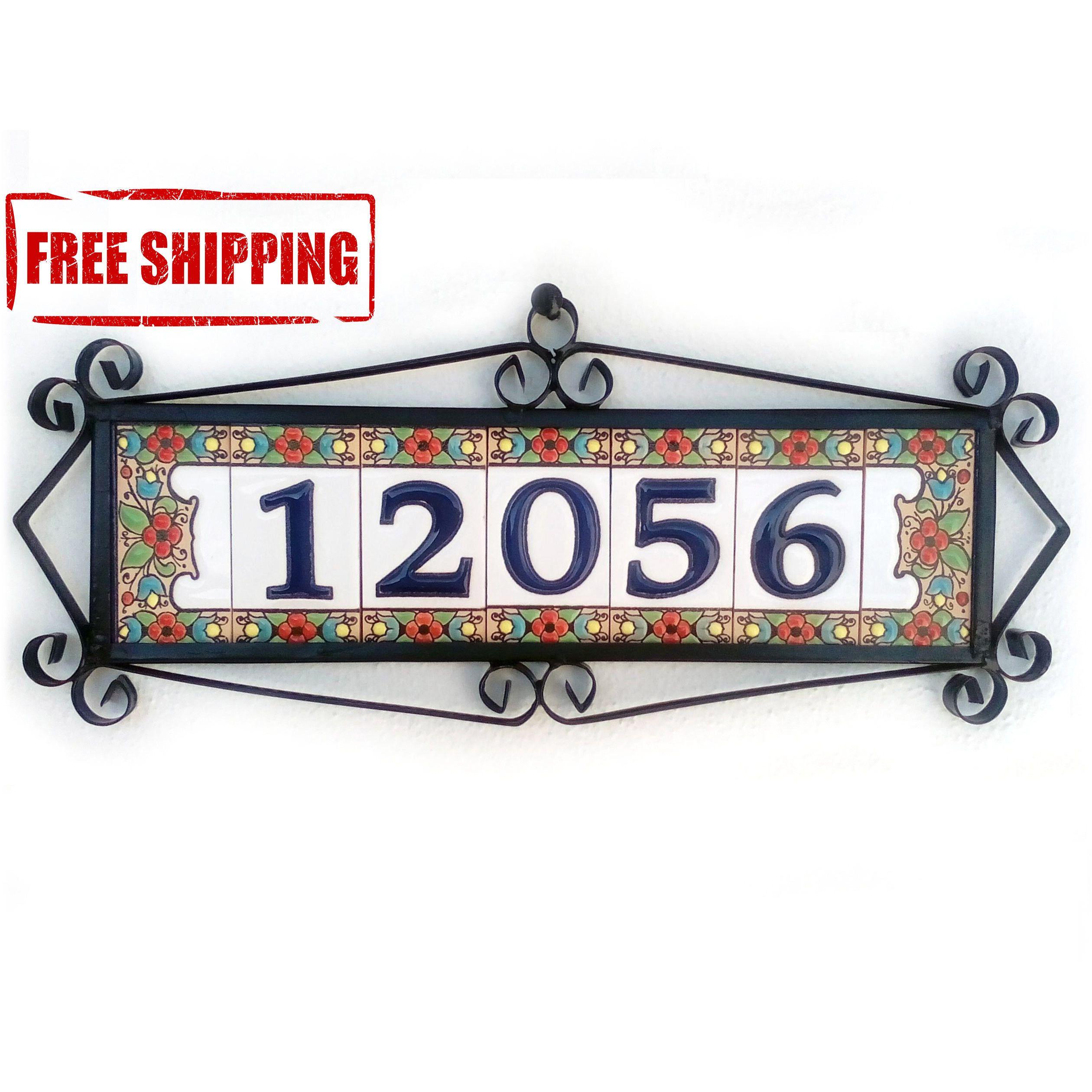 Customized door number plaque Glazed door number plaque Spanish door