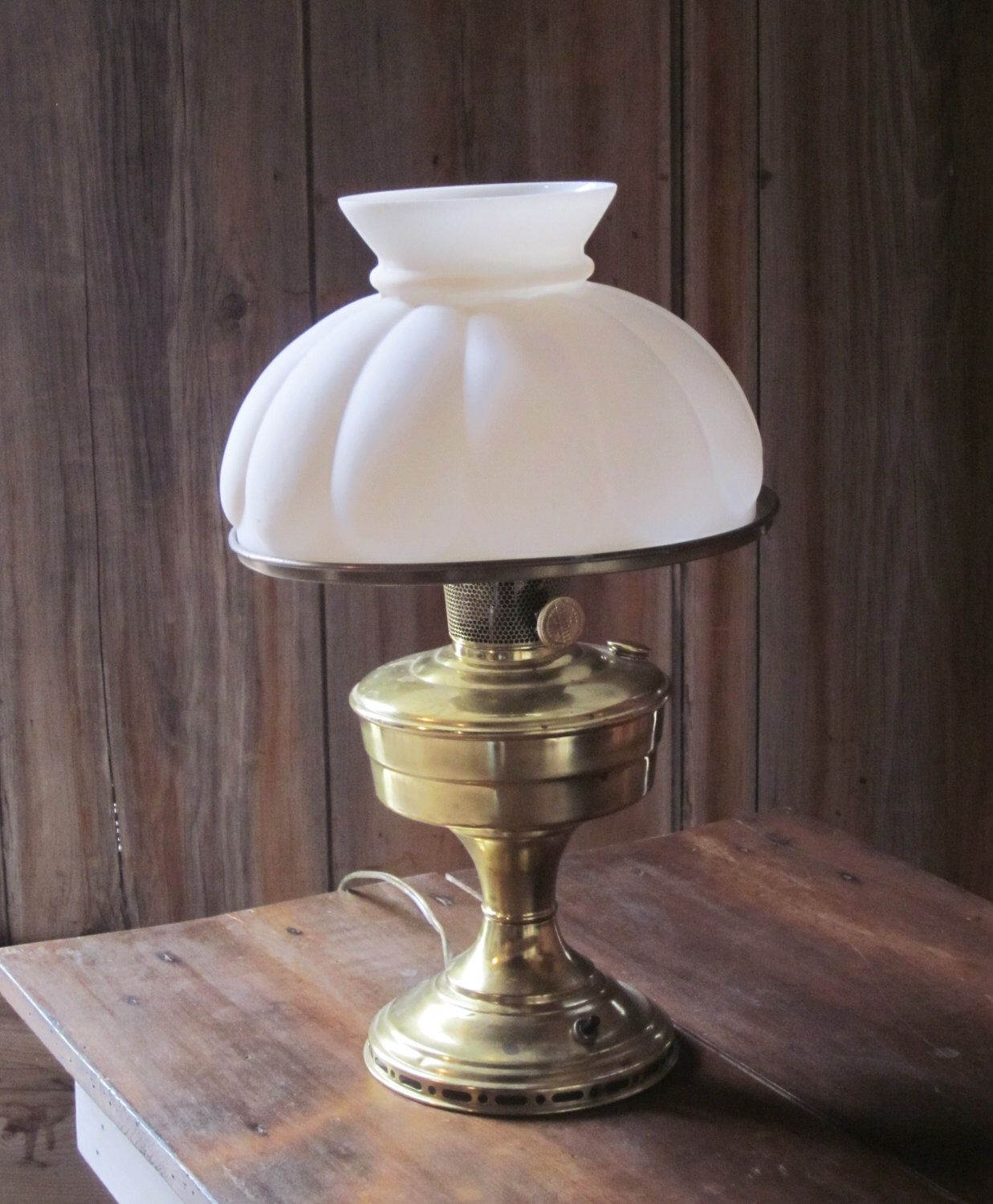 Brass aladdin lamp antique electrified white milk glass shade by brass aladdin lamp antique electrified white milk glass shade by gardenbarn on etsy https aloadofball Image collections