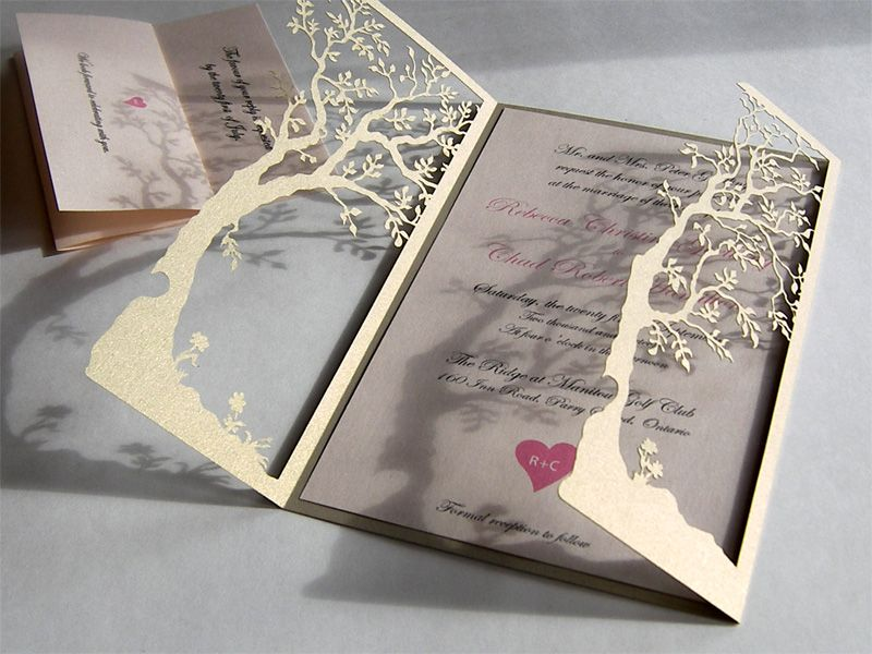 Love tree custom laser cut wedding invitations and reply cards