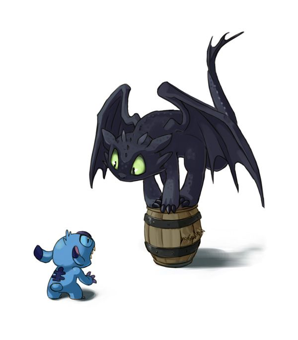 How to scare your dragon (Yes, I know Toothless is Dreamworks, but I liked the idea of him being scared by Stitch!)