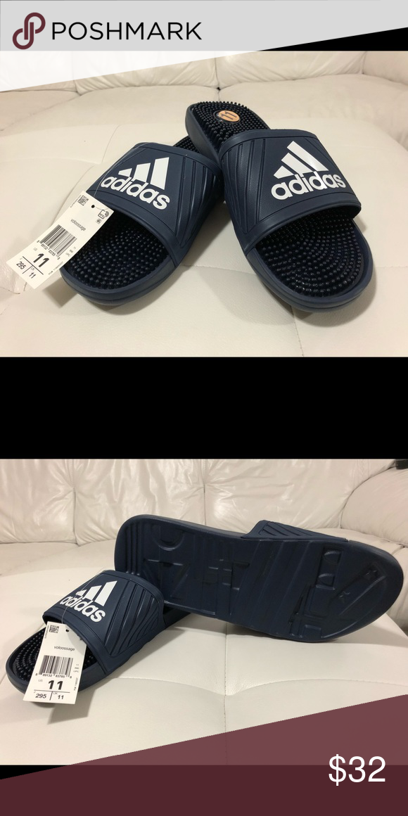 714490277 Adidas Voloossage Slides Sandals Navy 11 NWT Adidas Voloossage Slides  Sandals Navy Men s Size 11. New w  Box and Tags Attached. adidas Shoes  Sandals   Flip- ...