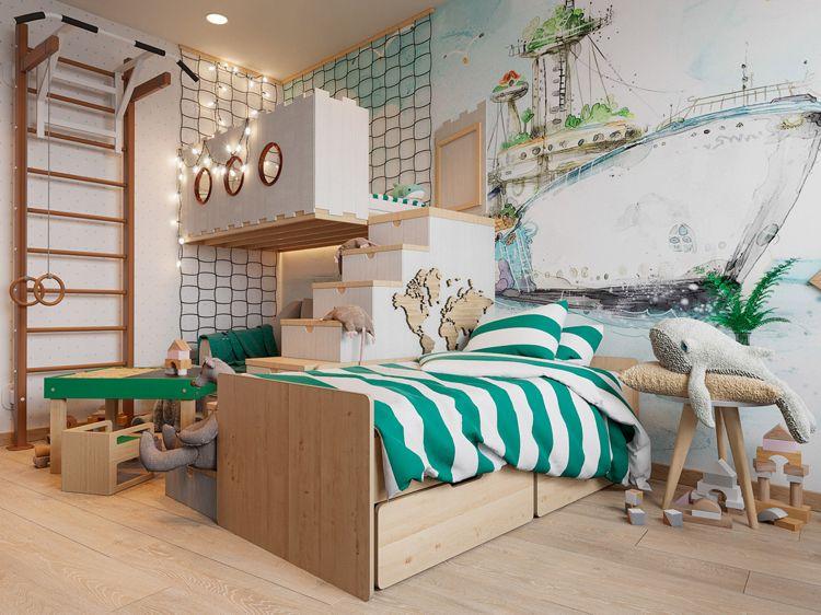 Klettergerüst Zimmer : Kinderzimmer hochbett zwei wandmalerei klettergerüst