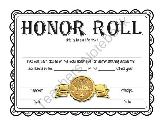 Free honor roll certificates gold silver and bronze for A b honor roll certificate template