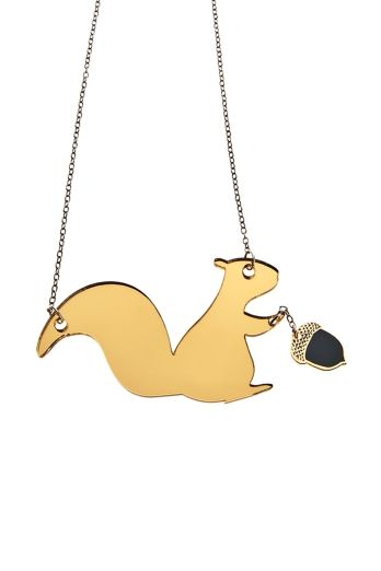 squirrel with acorn necklace plexiglass jewelry lasercut acrylic