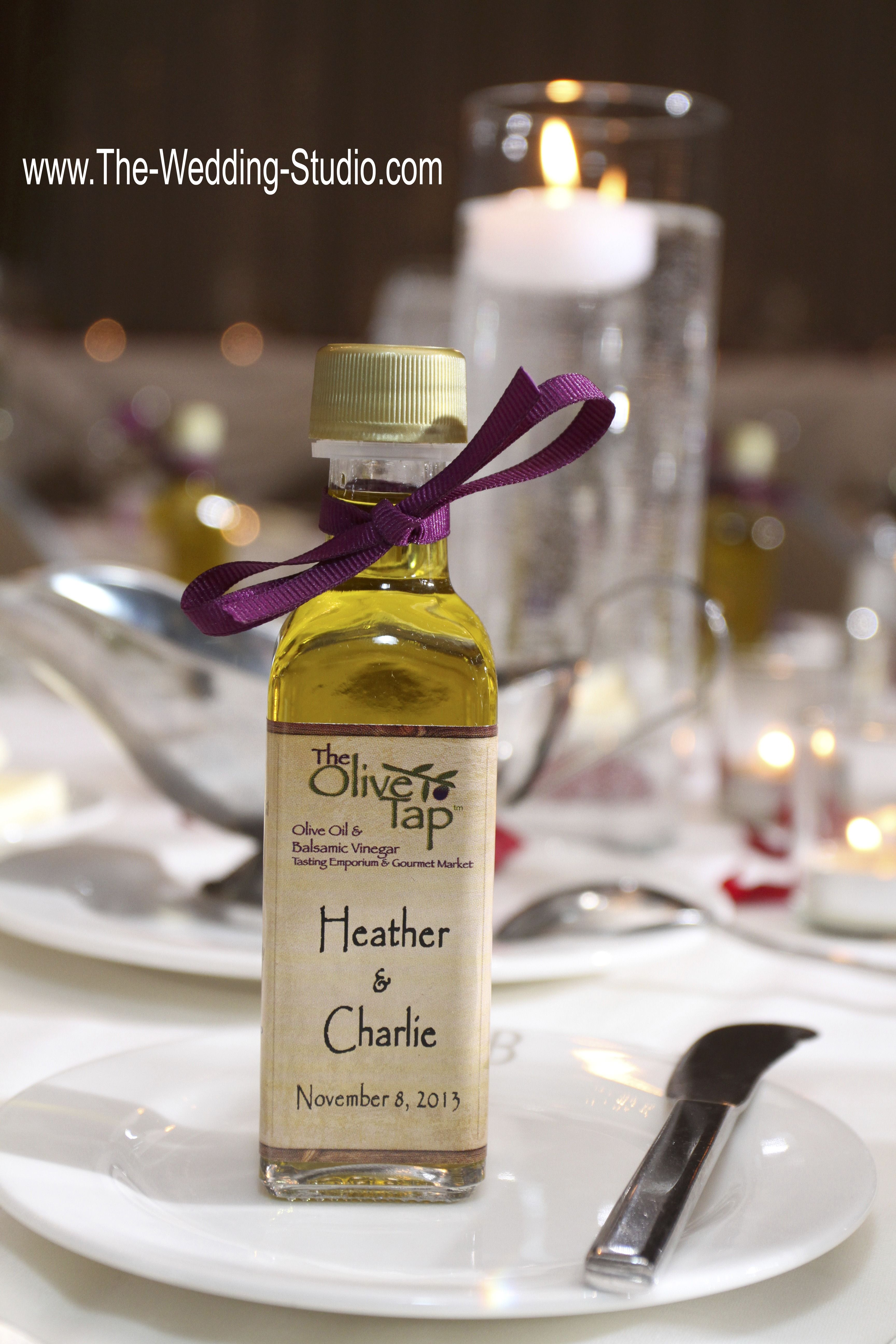 Wedding Party Favor. Olive oil & balsamic vinegar bottle with custom ...