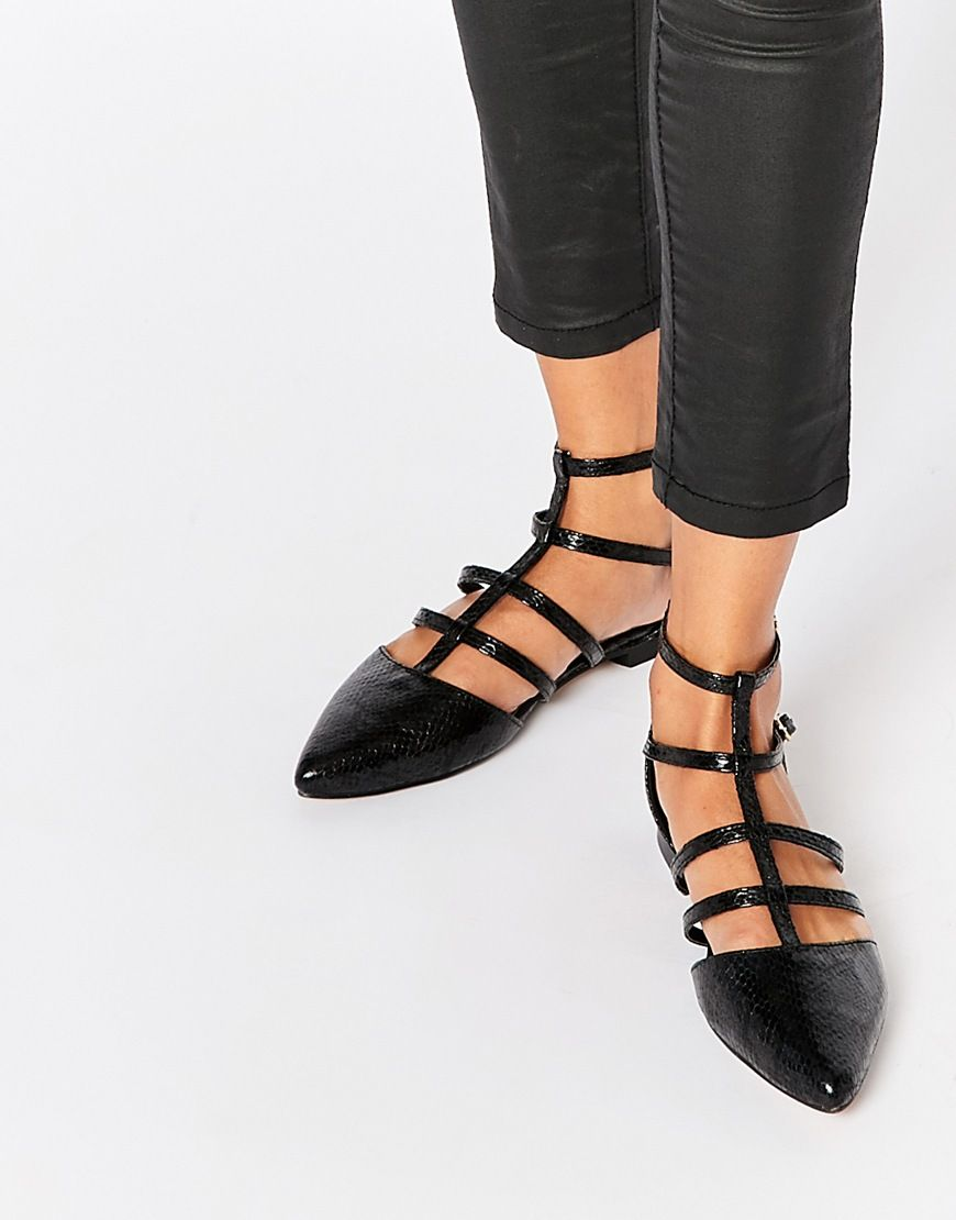 Buy Women Shoes / Asos Lookout Caged Pointed Ballet Flats