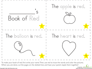 the color red preschool worksheets - Learning Colors Worksheets For Preschoolers