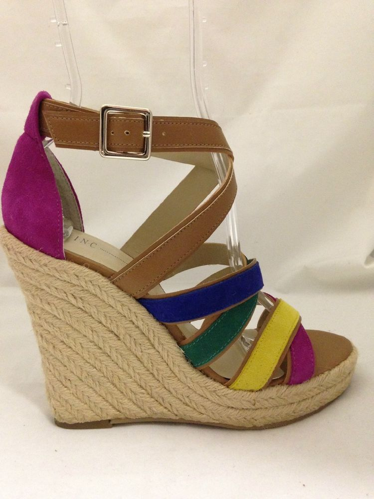aa6539351f6 NEW INC INTERNATIONAL CONCEPTS  VALENCIA  NEON MULTI WEDGES SANDALS  49.99  Sandals For Sale