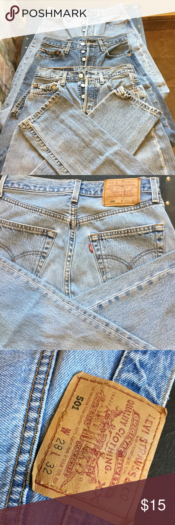 Levi's 501 jeans W28/L32 button front waist fit Levi's jeans gently worn, no rips tears stains.  Not distressed? 100 percent cotton.  Button front, fits at waist.  No stretch.  Wear as is or make shorts or distress or whatever.  Have 2 more pair if interested.  I measure W36/L30 may have shrunk. Levi's Jeans Boyfriend