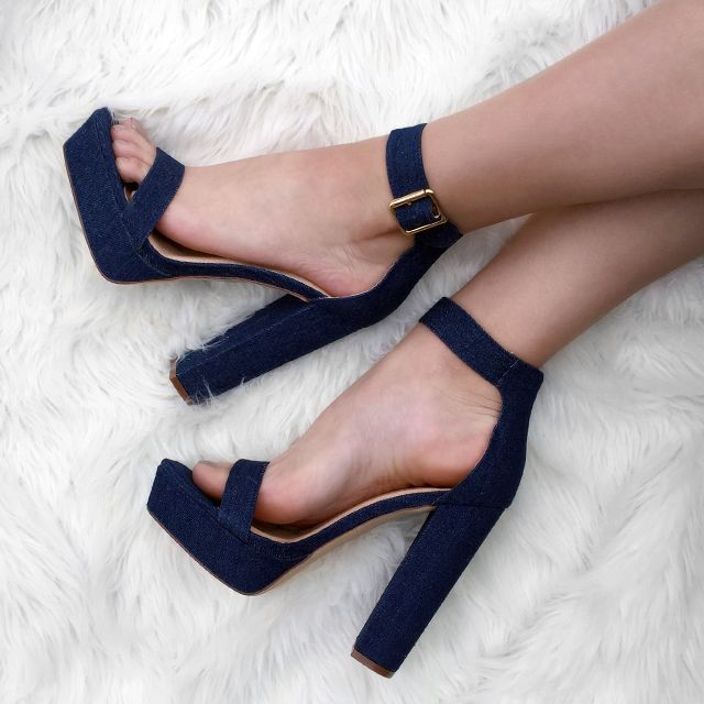 a130211ff3381 These denim chunky platform heels will complete any #OOTN. #denim #heels # chunky #platform #trend #style #inspo #shoes #fashion #gojane
