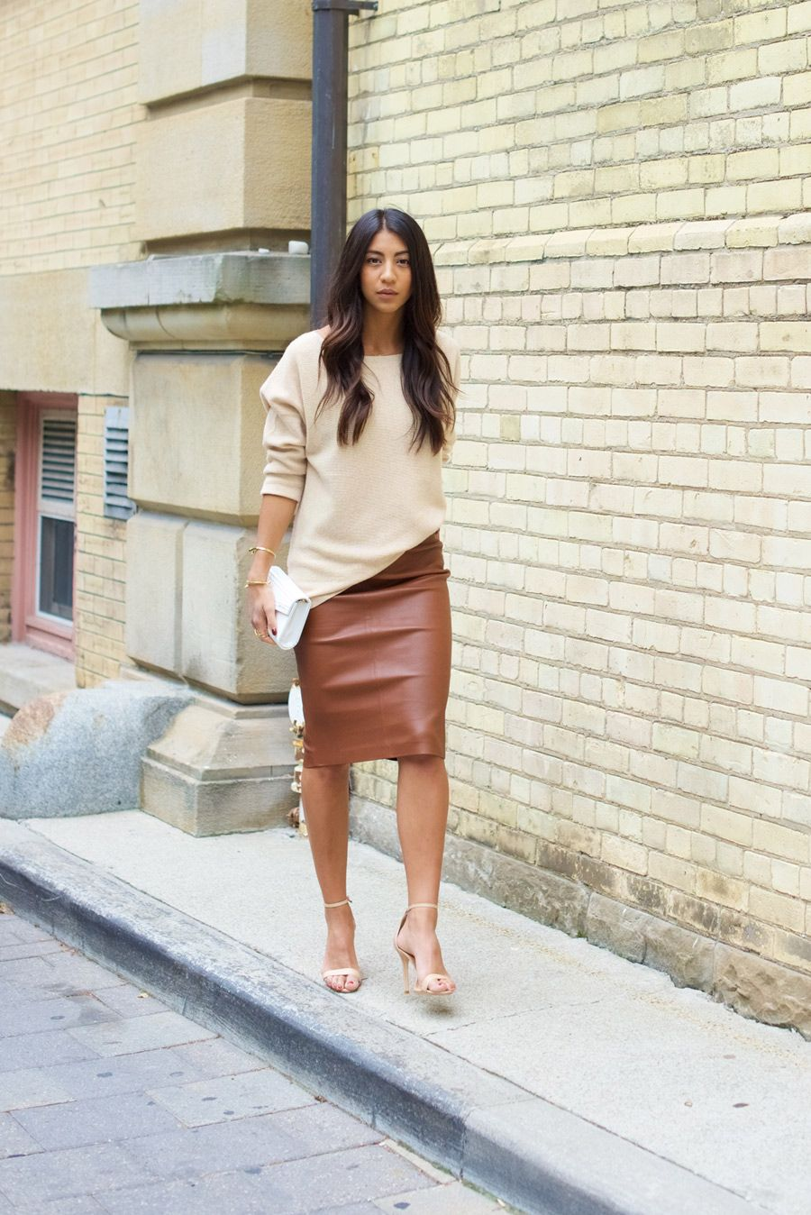 Brown Leather Pencil Skirt | Not Your Standard | tan leather skirt ...