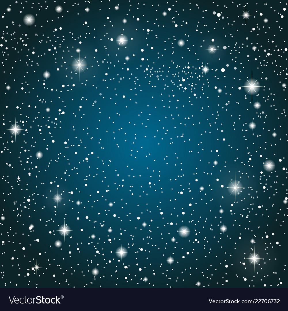 Realistic Starry Sky Blue Glow Shining Stars Vector Image On Vectorstock Starry Sky Sky Overlays Star Sky