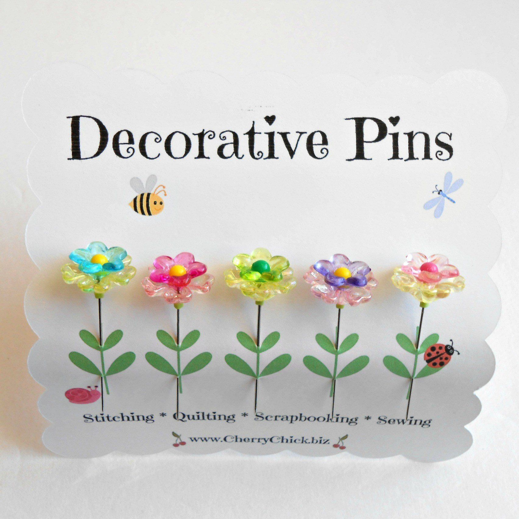 400 Pieces Flower Head Sewing Pins Colorful Flower Head Quilting Pins Multi-Color Decoration Flat Pins for Sewing DIY Projects Dressmaker Jewelry Decoration Supplies