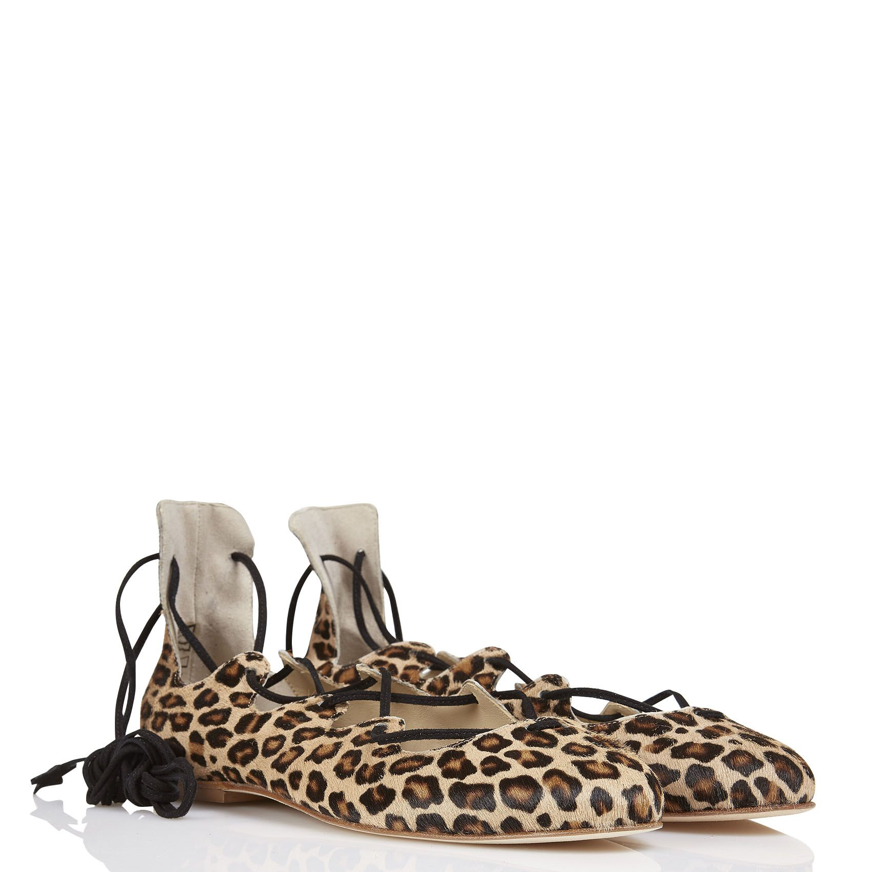 Sale - Leopard Lace-Up Flat Sandals - Anniel Anniel m52mPz