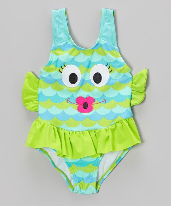 Look what I found on #zulily! Blue & Green Fishy Skirted One-Piece - Infant, Toddler & Girls by Candlesticks #zulilyfinds