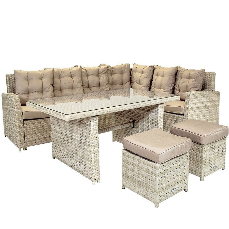 Rattan Dining Set Beige Colour L Shaped Sofa Glass Table Patio Outdoor Furniture
