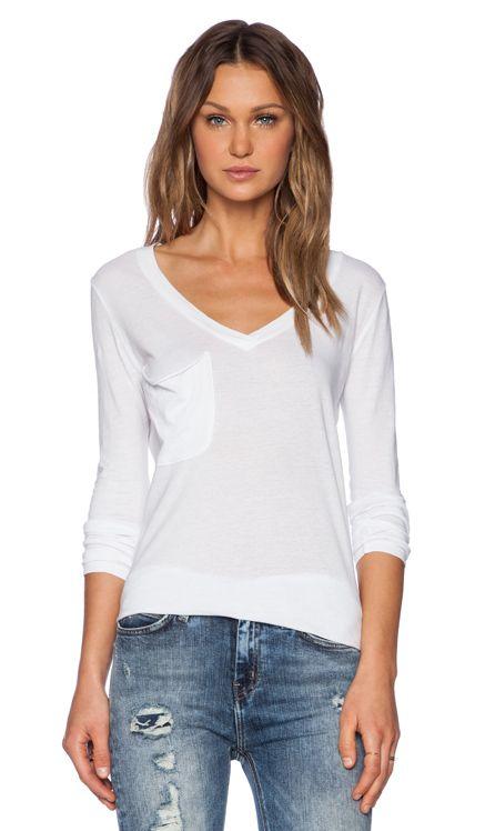 Bobi Light Weight Jersey Long Sleeve V Neck Pocket Tee in White | REVOLVE