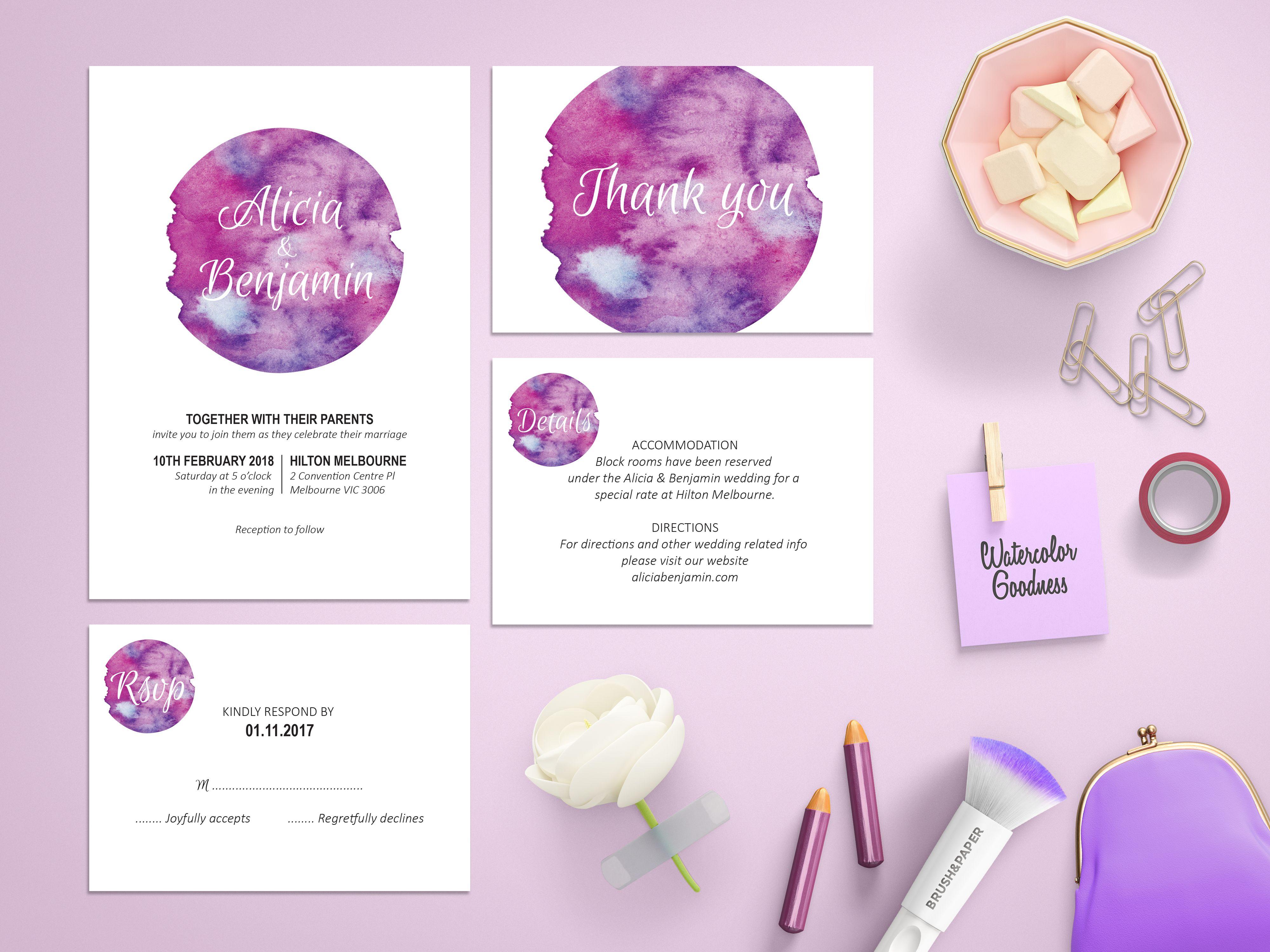 Purple Watercolor Wedding Invitation Suite, Purple Wedding Theme ...