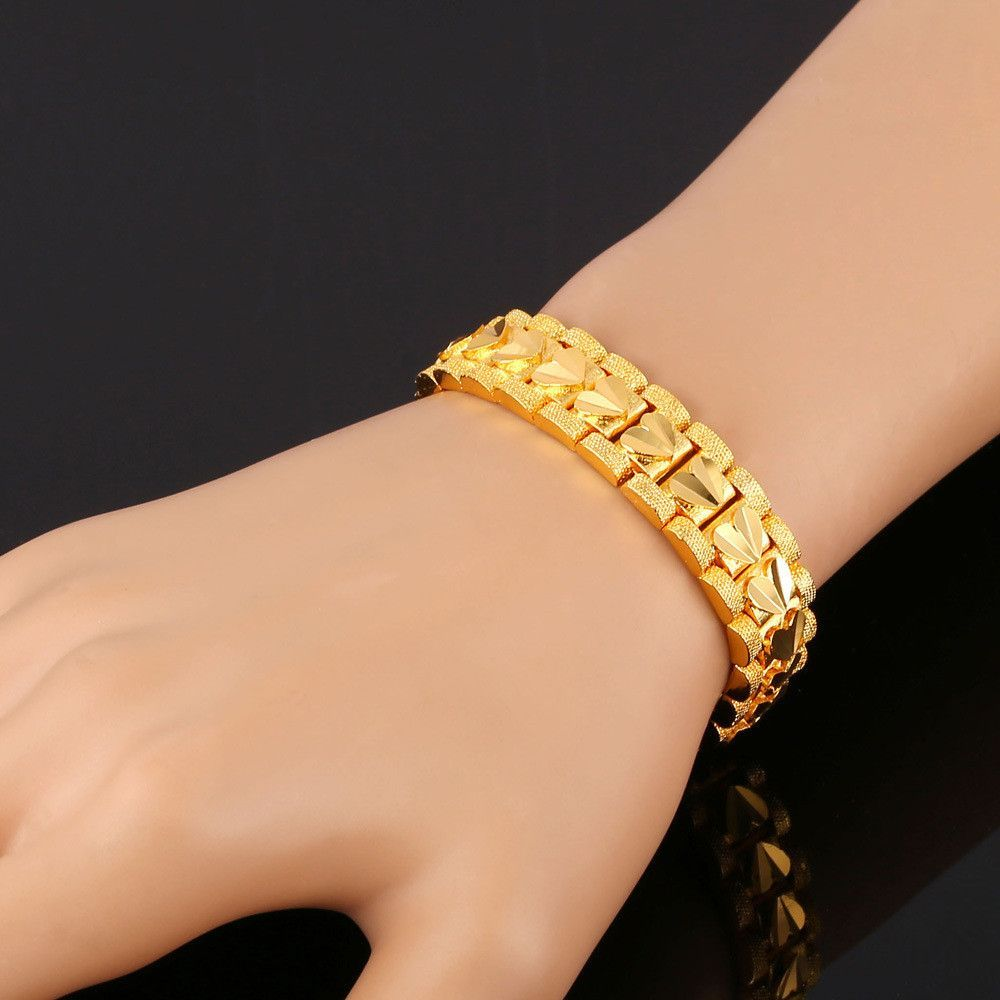 12MM Wide Men Bracelet Rock Style 18k Gold /Platinum Plated 19cm ...