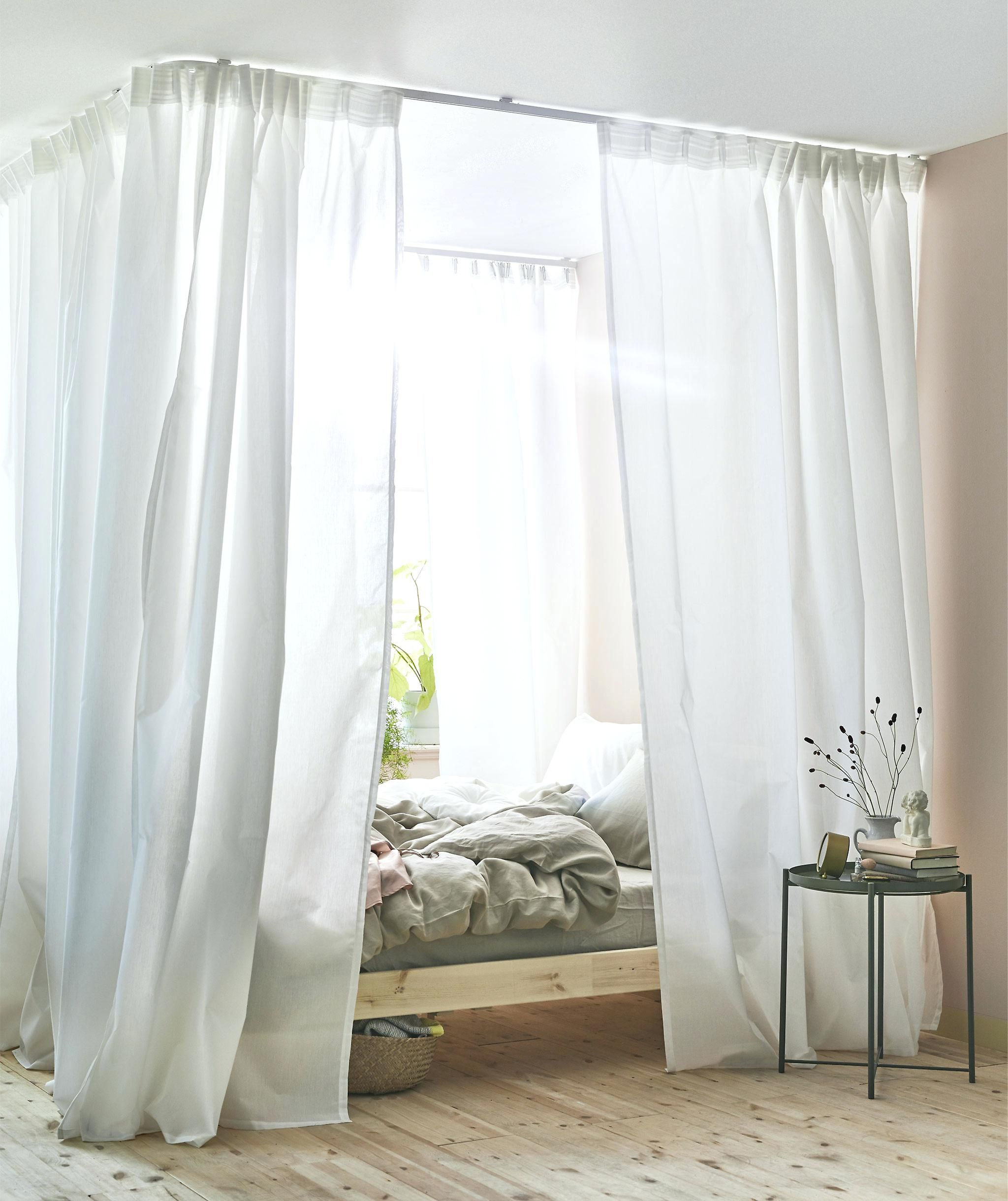 8 Hacks We Discovered Hiding Deep In Ikea S Website Diy Canopy Bed Canopy Bed Diy Curtains Around Bed Canopy Bed Curtains