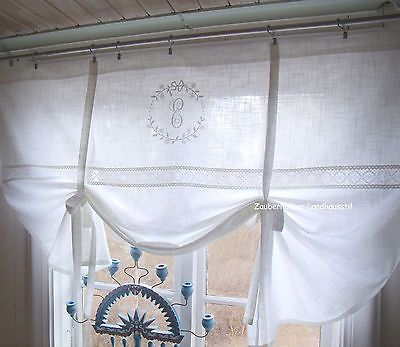 CRYSTAL-Scheibengardine-140x120-Gardine-weiss-bestickt-Monogramm - badezimmer gardinen rollos