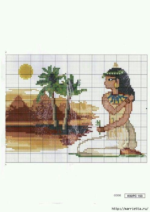 Вышивка крестом в египетском стиле (2) (494x700, 191Kb) | szépek ...