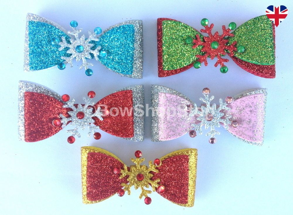 Christmas Satin Diamante Glitter Snowflake Hair Bow Ribbon Small Alligator Clip