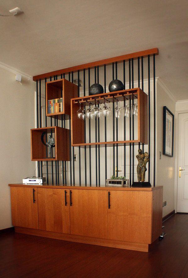 Mueble separador de ambientes metal madera casa 26 for Mueble separador de ambientes
