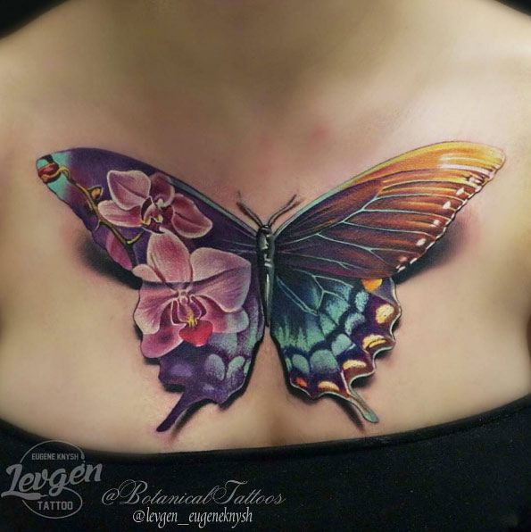 Stunning Butterfly Tattoo On Chest By Levgen Feminine Tattoos Tattoos Butterfly Tattoo