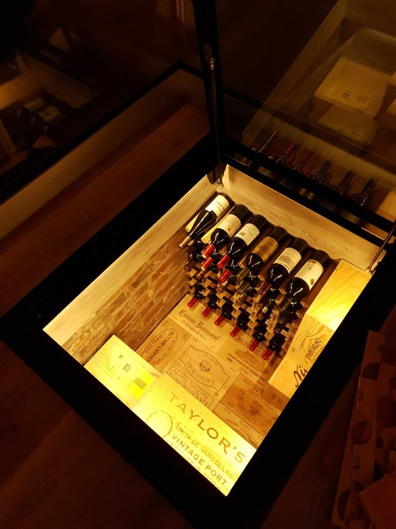 Hinged Glass Floor Wine Cellar Display Unit Etsy In 2020 Glass Floor Cellar Design Wine Cellar Design
