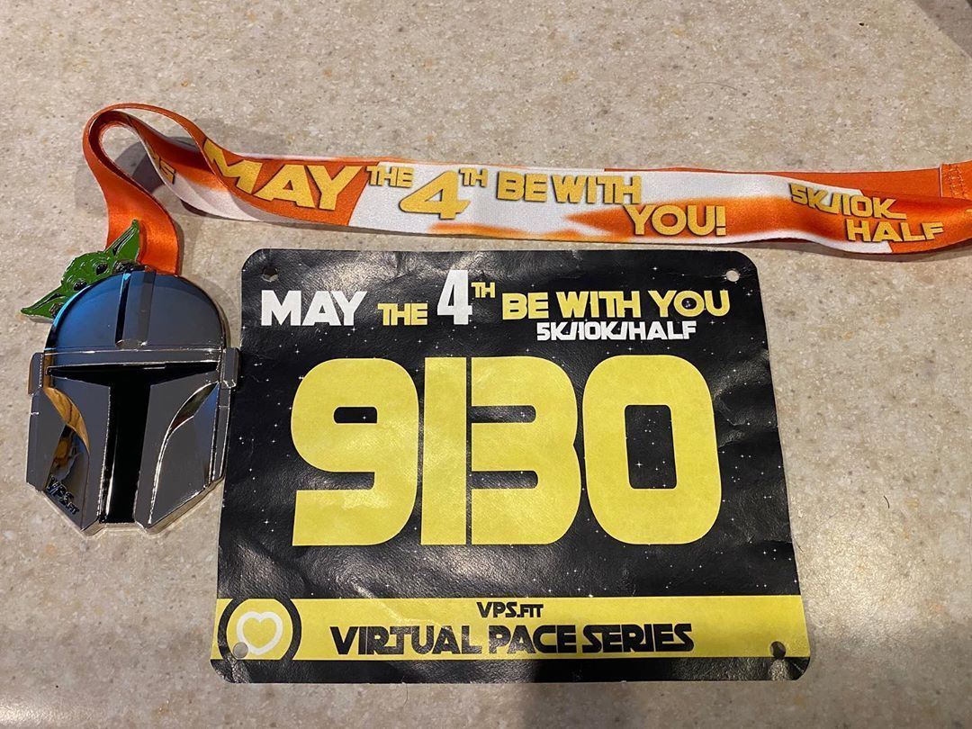 Got my May the 4th be with you 5K virtual race medal and bib!  Love these types of races 😁❤️. @virtu...