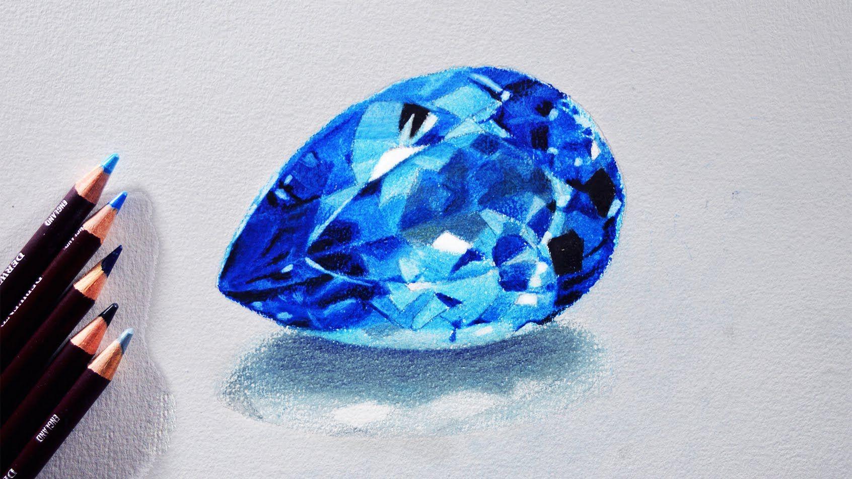 How to draw a Blue topaz (Gem stone) Tutorial - Derwent